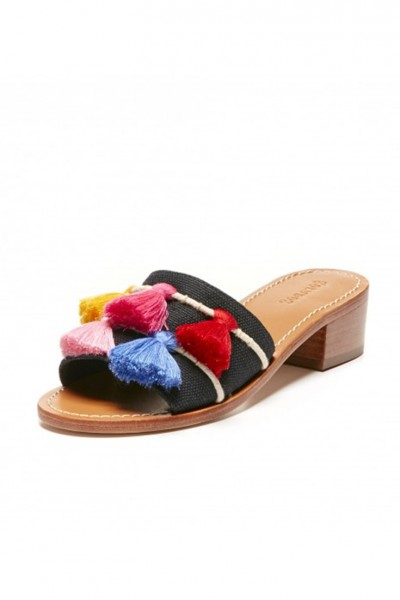 Soludos -  Open Toe Tassel City Sandal - Black - Multi