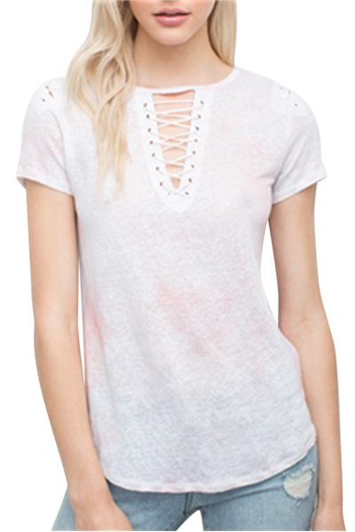 Generation love - Women's Hugo Lace up Tee - Pink - Spray