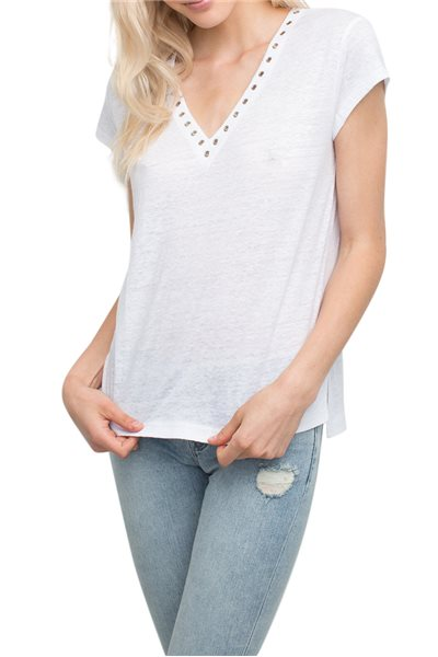 Generation love - Women's Richie Eyelets V-Neck Tee - White