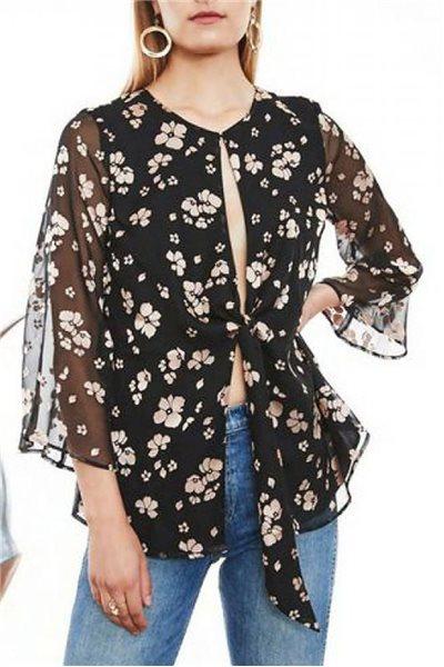 L'Academie - Women's Low Knot blouse - Black - Fawn - Floral