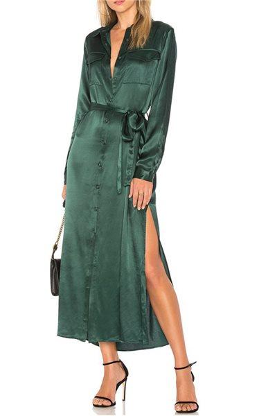 L'Academie - Women's Long Sleeve Shirt Dress - Emerald