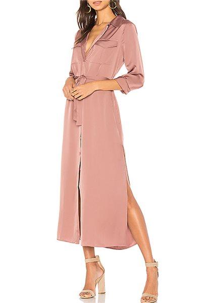 L'Academie - Women's Long Sleeve Shirt Dress - Mauve - Blush