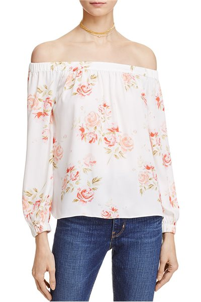 L'Academie - Women's Floral Print off-the Shoulder Top - Peach - Floral