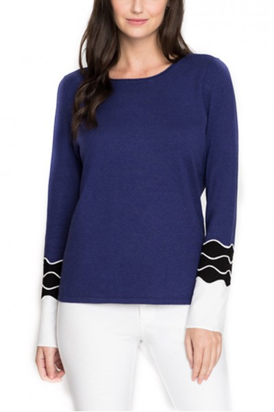 Nic + Zoe - Women's Squiggle Top - Electric - Blue