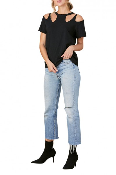 LNA - Womens Quad Cut out V - Black