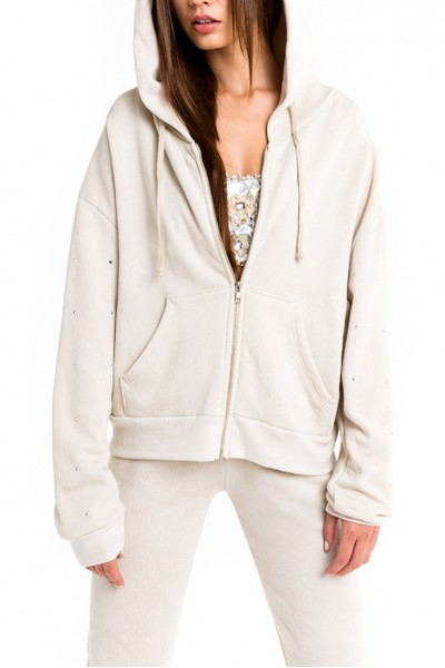 Wildfox - Women's Glitz Sleeve Milk Run Hoodie - Grey Swan