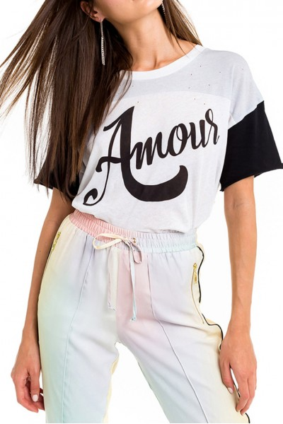 Wildfox - Women's Amour Pinhole Trenton Football Tee - Multi Colored