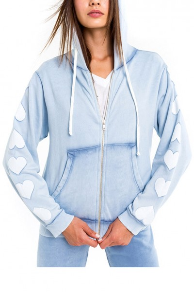 Wildfox - Women's Heart of Hearts Regan Zip Hoodie - Blue Ribbon