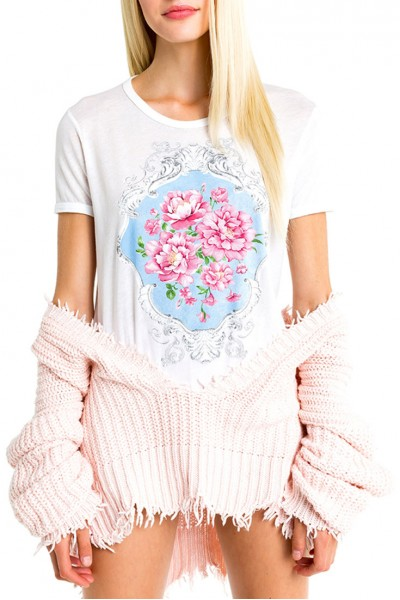 Wildfox - Women's Baroque Roses Johnny Ringer Tee - Clean White
