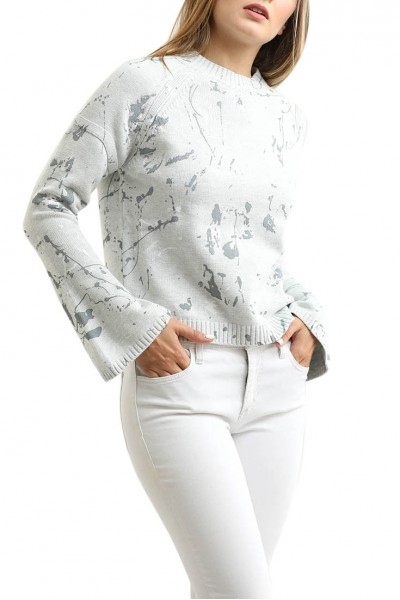Central Park West - Bell Sleeve Santa Fe Blouse - Heather Grey
