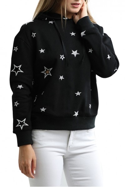 Central Park West - French Terry Star Cutout Hoodie - Black