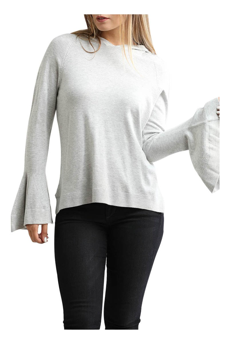 Central Park West - Long Bell Sleeve Zion Hoodie - Heather Grey