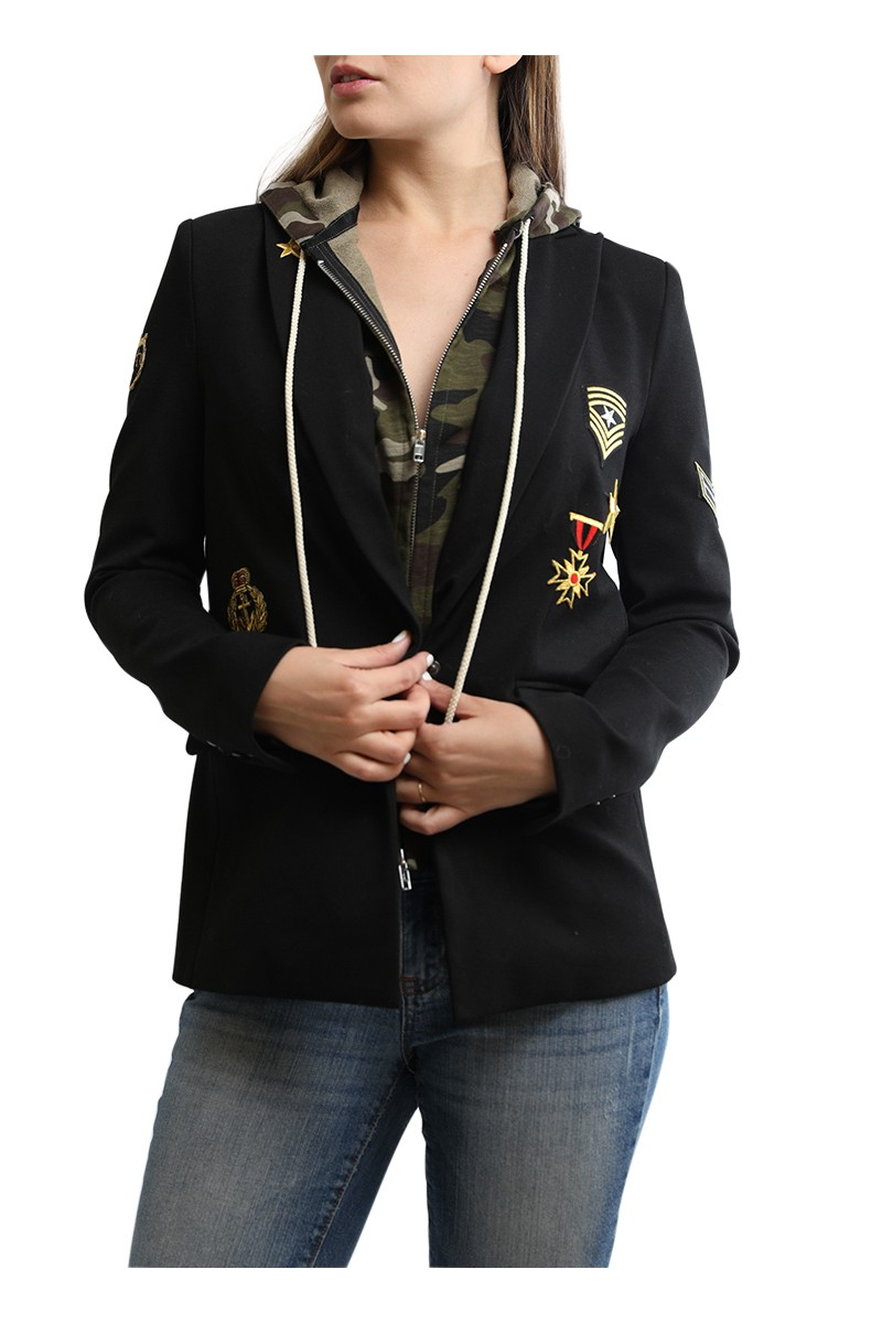 Central Park West - Flint Military Jacket with Hoodie - Black