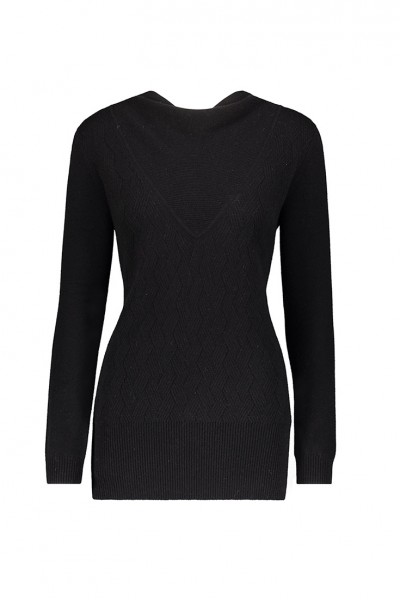 Raffi - Womens Pure Cashmere Criss Cross Open Back - Black