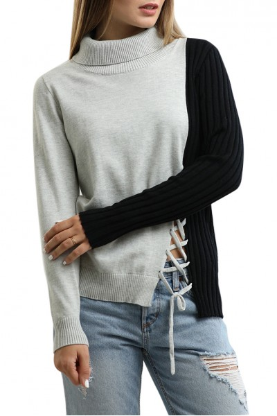 Central Park West - Turtleneck Sweater With Lacing Detail - Black/Grey