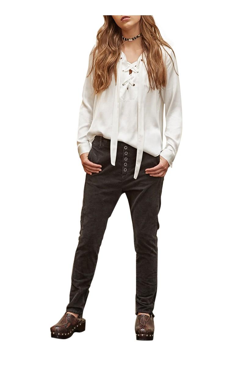Sack's - Mario Boyfriend Velvet Pants - Black