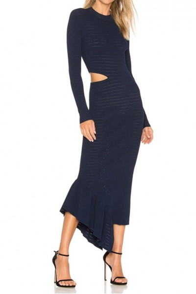 Ronny Kobo - Charlize Pointelle Rib Dress - Navy