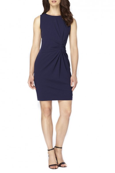 Tahari Brand - Women's Sleevless Scuba Crepe Side Roche Dress - Navy
