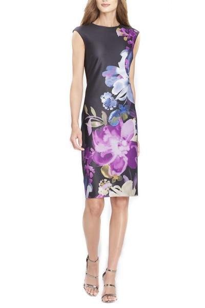Tahari Brand - Women's Placed Floral Print Scuba Sheath Dress - Black Indigo Beet