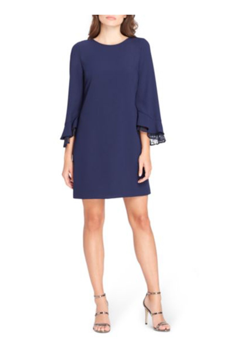 Tahari Brand - Women's Lace Trim Bell-Sleeve Shift Dress - Navy