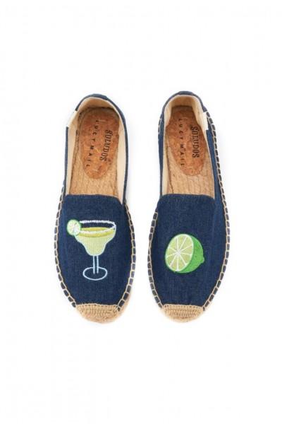 Soludos - Women's Margarita Platform Smoking Slippers - Dark Denim