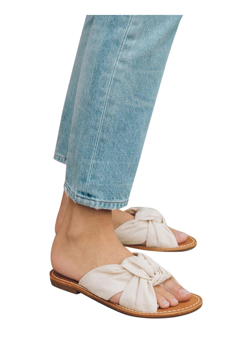 Soludos - Women's Linen Knotted Slide Sandal - Blush