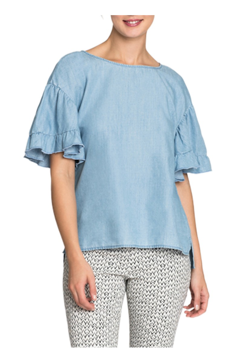 Nic + Zoe - Women's Denim Ruffle Top - Blue Haze