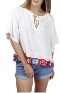 Central Park West - Oleander Short Bell Sleeve Top - White
