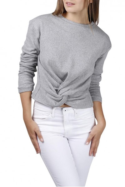 Central Park West - Clover twist front crewneck sweater - Grey