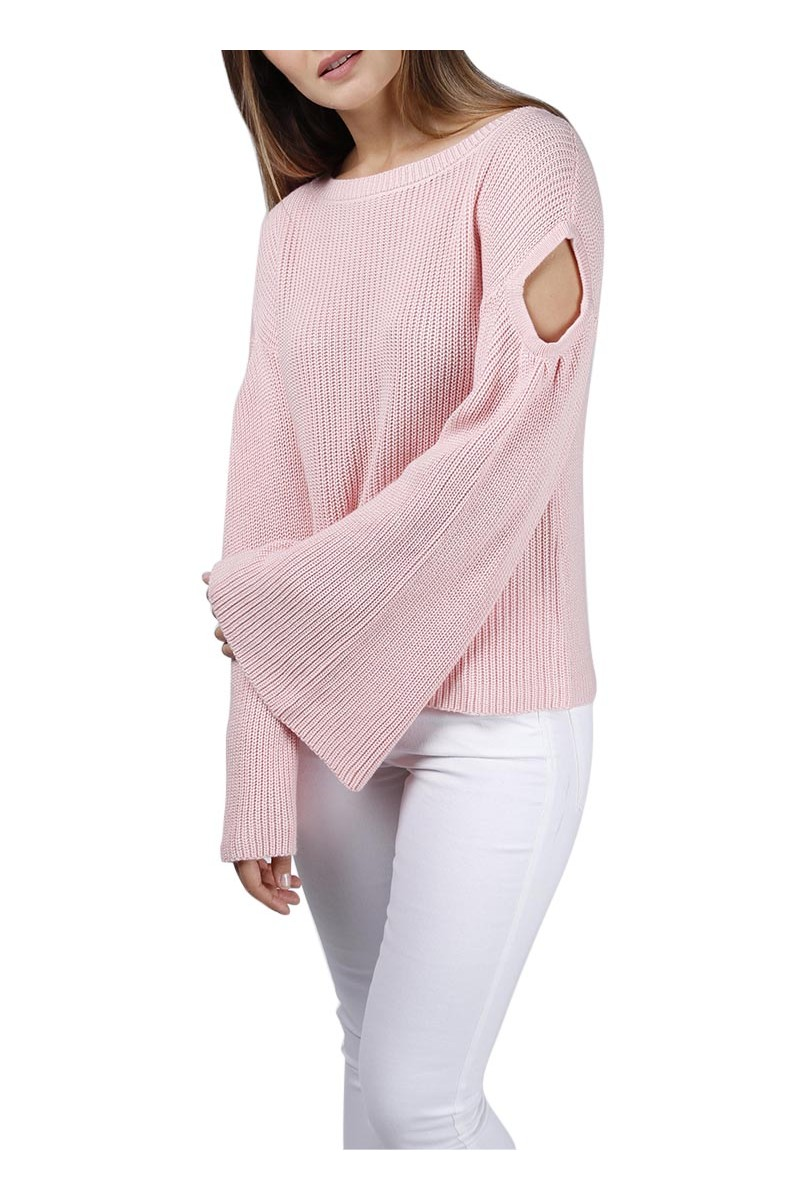 Central Park West - Yarrow cut out bell sleeve sweater solid  - Ltgrey