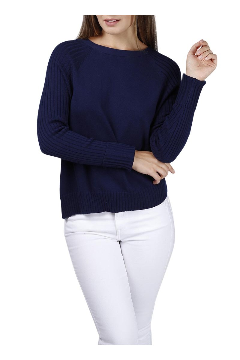 Central Park West - Mariposa lace back sweater - Navy