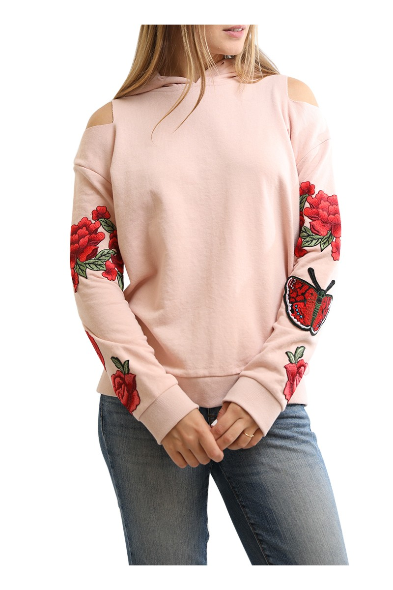 Central Park West - Oakland Rose Embroidered Hoodie - Pink