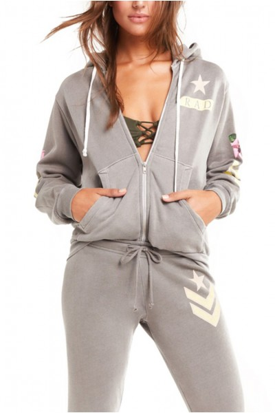 Wildfox - Women's Rad Regan Zip Hoodie - Pigment OD Green