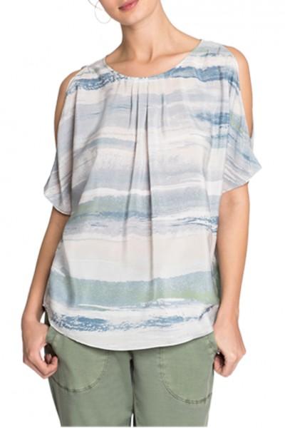 Nic+Zoe - Women's Watercolor Cold Shoulder Top - Multi