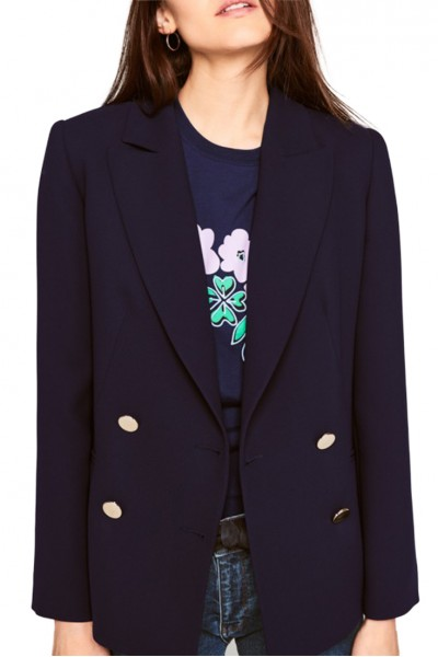 Tara Jarmon - Women's Double Cloth Jacket - Midnight Blue