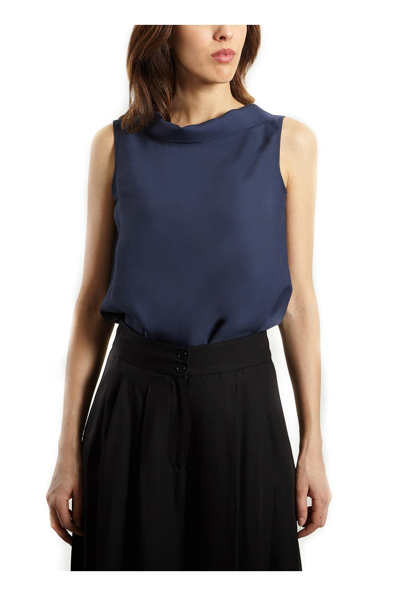 Tara Jarmon - Women's Back Tie Top - Blue