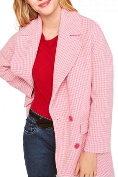 Tara Jarmon - Women's Houndstooth Coat - Pink