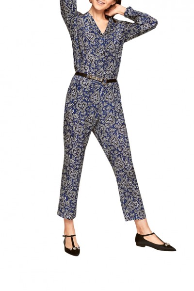 Tara Jarmon - Women's Trousers with Bandan Print - Blue