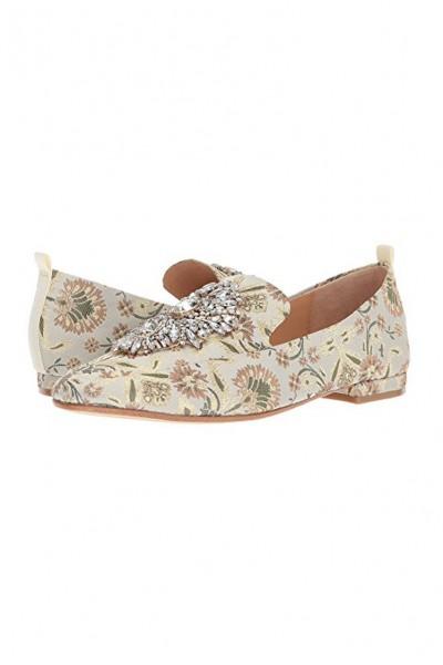 Badgley Mischka - Women's Salma Brocade Jeweled Embellishment Loafers - Ivory