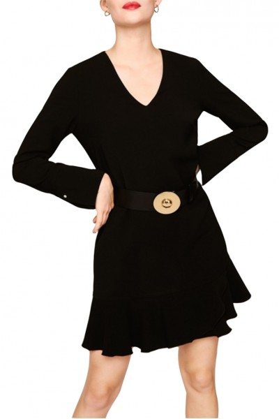 Tara Jarmon - Women's Dobby Crepe Dress - Black