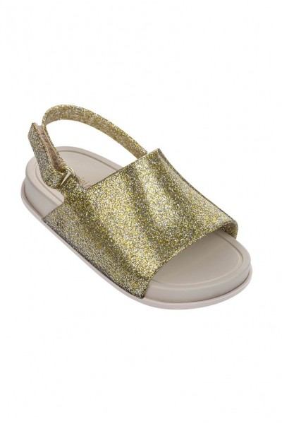 Mini Melissa - Kids Beach Slide Sandal - Gold Glitter