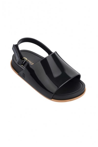 Mini Melissa - Kids Beach Slide Sandal - Black - Beige