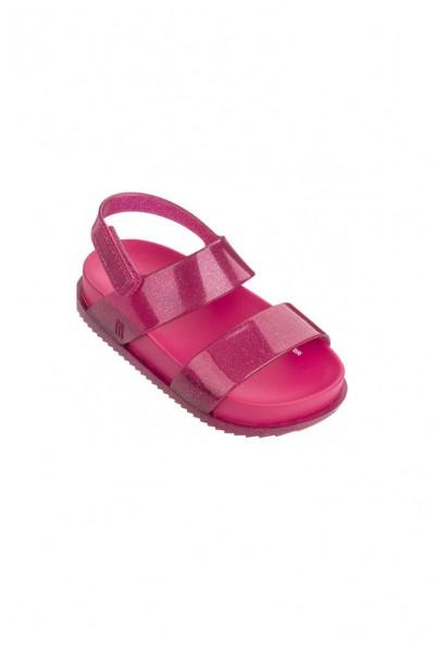 Mini Melissa - Kids Cosmic Sandal Preto - Pink Glitter
