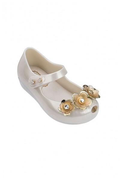 Mini Melissa - Kids Ultragirl Special Ballet Flat  - White Pearl