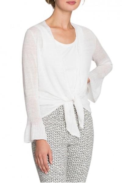 Nic+Zoe - Women's Ruffle Cuff 4 Way Cardy - Paper White