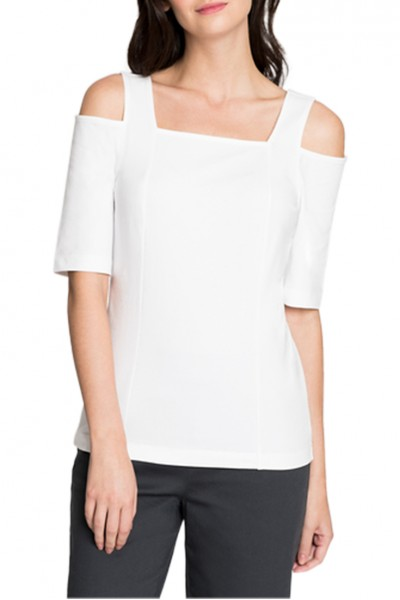 Nic+Zoe - Women's Perfect Cold Shoulder Top - Paper white