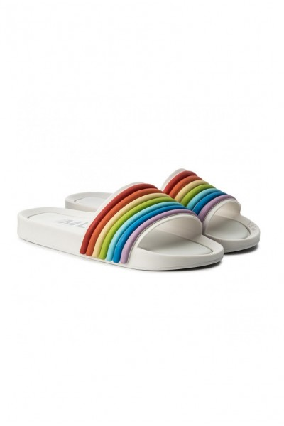 Melissa - Women's Beach Slide 3DB Rainbow Ad - White Rainbow