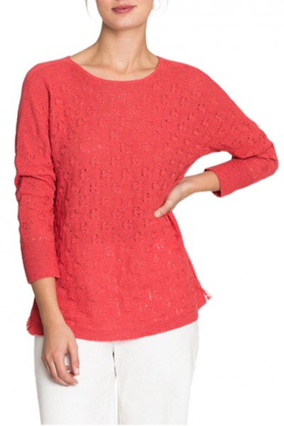Nic+Zoe - Women's Stitched Dots Top - Spiced Rose
