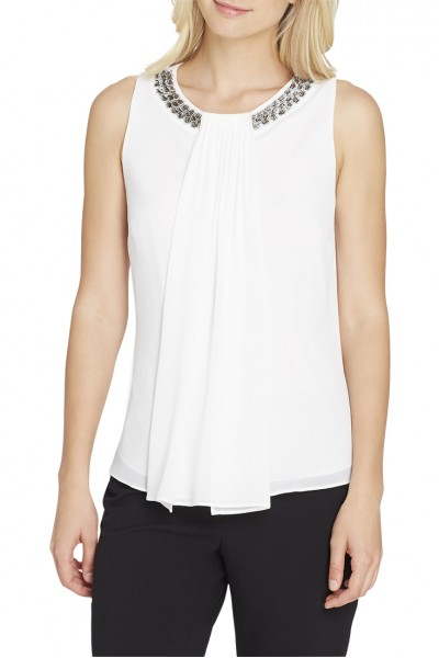 Tahari - Beaded-And-Pleated Crepe Top - Ivory White