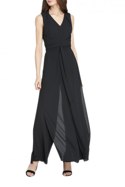 Tahari - Women's Double Georgette Jumpsuit - Black